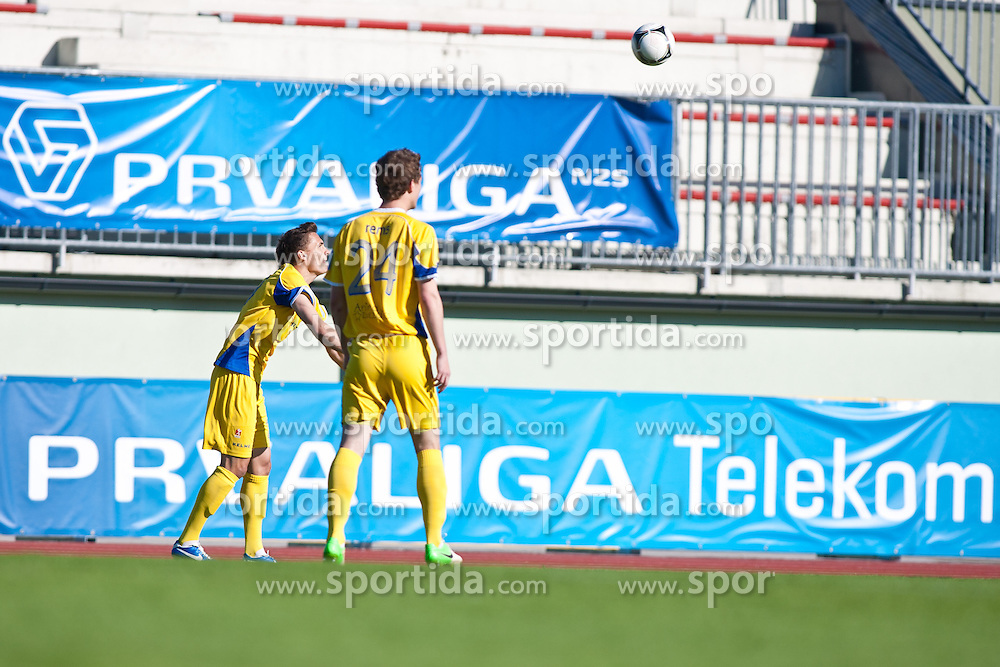Jure Balkovec & Tadej Rems of NK Domzale during football match between NK Triglav and NK Domzale in 23th Round of Slovenian First League PrvaLiga NZS 2012/13 on April 24, 2013 in Sports park Kranj, Slovenia. (Photo by Grega Valancic / Sportida)