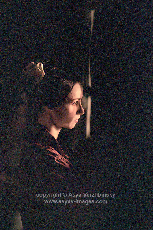 Sylvie Guillem backstage watching the performance before Margueritte and Armand. Mariinsky Theatre,St. Petersburg, Russia