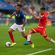 PARIS, FRANCE - September 10:  Corentin Tolisso #12 of France is challenged by Marc Vales #3 of Andorra during the France V Andorra, UEFA European Championship 2020 Qualifying match at Stade de France on September 10th 2019 in Paris, France (Photo by Tim Clayton/Corbis via Getty Images)