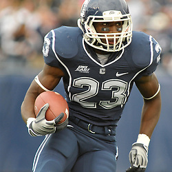 Oct 31, 2009; East Hartford, CT, USA; Connecticut running back Jordan Todman (23) runs the ball during first half Big East NCAA football action between Rutgers and Connecticut at Rentschler Field.