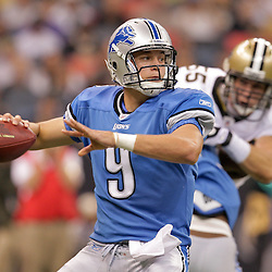 2009 September 13: Detroit Lions rookie quarterback Matthew Stafford (9) drops back to pass during a 45-27 win by the New Orleans Saints over the Detroit Lions at the Louisiana Superdome in New Orleans, Louisiana.