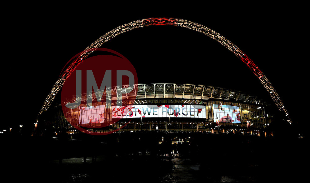 LED boards show messages of remembrance for Armistice Day at Wembley Stadium ahead of The UEFA European World Cup Qualifier between England and Scotland - Mandatory by-line: Robbie Stephenson/JMP - 11/11/2016 - FOOTBALL - Wembley Stadium - London, United Kingdom - England v Scotland - European World Cup Qualifiers