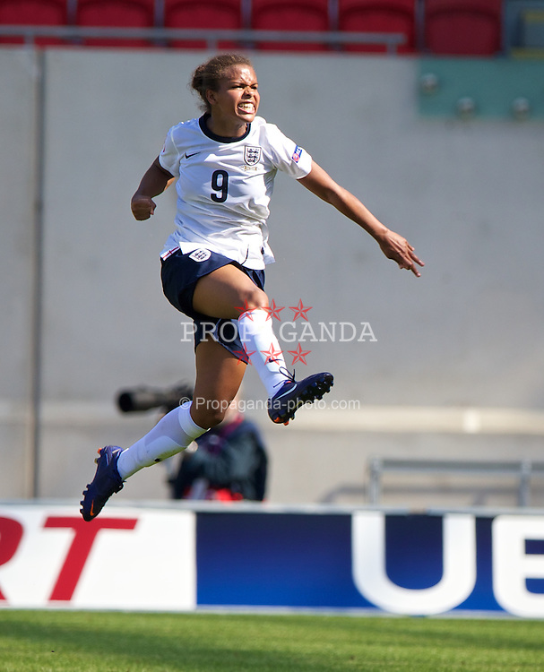 LLANELLI, WALES - Thursday, August 22, 2013: England's Nikita Parris celebrates scoring the second goal against Wales during the Group A match of the UEFA Women's Under-19 Championship Wales 2013 tournament at Parc y Scarlets. (Pic by David Rawcliffe/Propaganda)