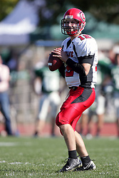 04 October 2008: Evan Jones in a battle between the Carthage Red Men and the Illinois Wesleyan University Titans, .Game action was at Wilder Field on the campus of Illinois Wesleyan University in Bloomington Illinois.
