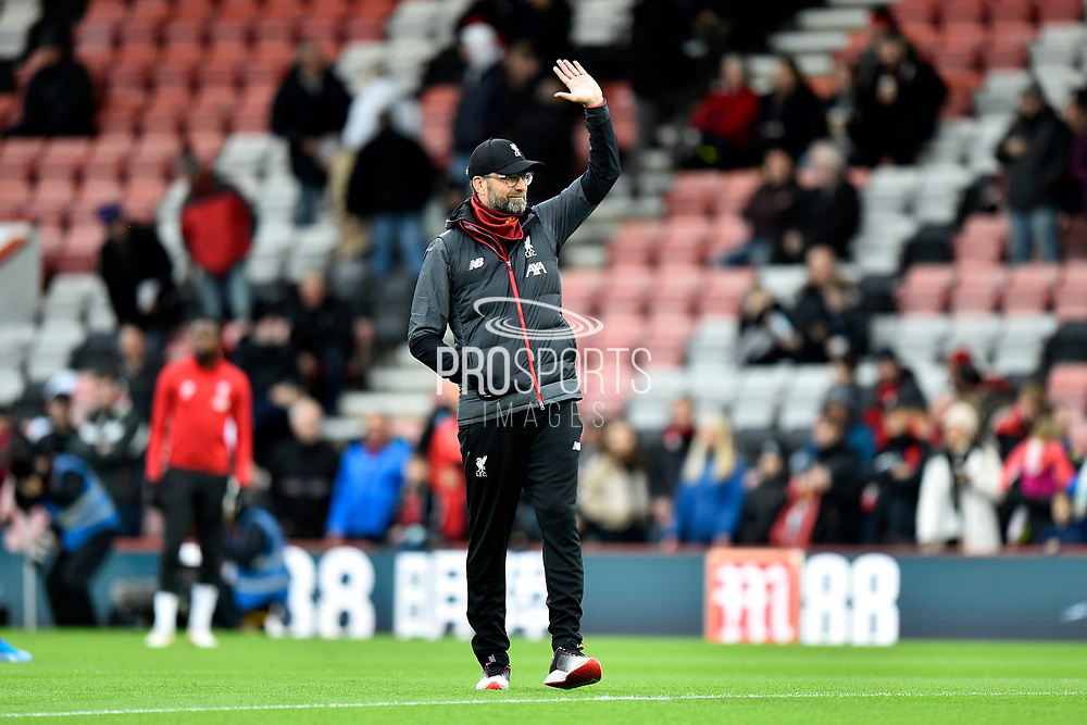 Liverpool manager Jurgen Klopp waves during the warm up ahead of the Premier League match between Bournemouth and Liverpool at the Vitality Stadium, Bournemouth, England on 7 December 2019.