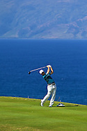 January 11 2015:  Kevin Streelman tees off on number thirteen during the Third Round of the Hyundai Tournament of Champions at Kapalua Plantation Course on Maui, HI.