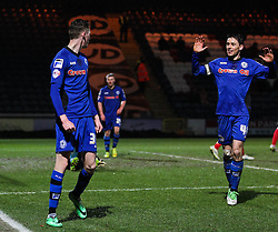 Rochdale's Joe Bunney celebrates after scoring his sides second goal - Photo mandatory by-line: Matt McNulty/JMP - Mobile: 07966 386802 - 03/03/2015 - SPORT - football - Rochdale - Spotland Stadium - Rochdale v Crewe Alexandra - Sky Bet League One
