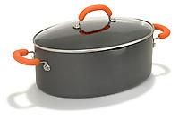 pasta pot with orange handles