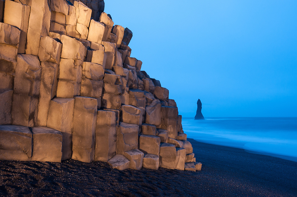 Cliff at Vik beach, by torchlight, Iceland