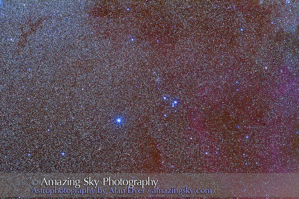 The loose open star cluster IC 2391, aka the Omicron Velorum Cluster in Vela. The orientation is along the Milky Way here, so north is at right, not at top. This is a stack of five 2-minute exposures with the Canon L-series 135mm lens at f/2.8 and Canon 7D at ISO 1250. The field simulates a binocular field of roughly 7°.