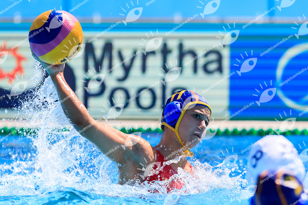 Anna Gual Rovirosa of Spain <br /> USA (White cap) vs Spain (Blue Cap) Water Polo - Preliminary round<br /> Day 05 18/07/2017 <br /> XVII FINA World Championships Aquatics<br /> Alfred Hajos Complex Margaret Island  <br /> Budapest Hungary July 15th - 30th 2017 <br /> Photo @Marcelterbals/Deepbluemedia/Insidefoto