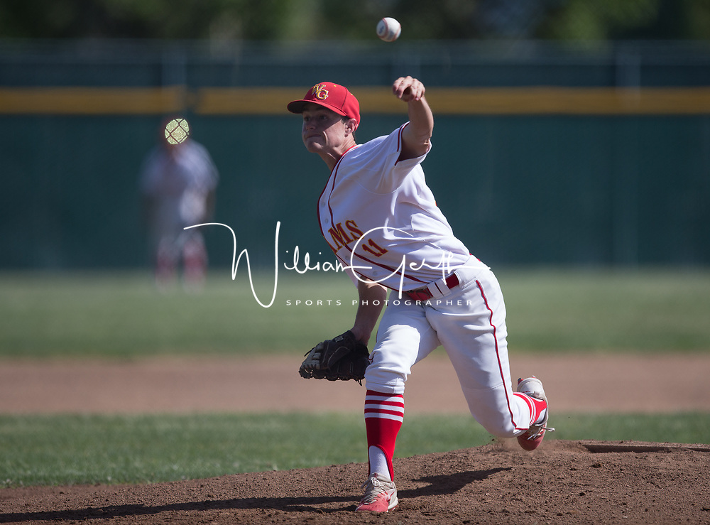 (Photograph by Bill Gerth/for SVCN/5/4/17) Willow Glen #11 Michael Denis pitches vs Leigh  in a BVAL Baseball Game at Willow Glen High School, San Jose CA on 5/4/17 (Willow Glen defeats Leigh 10-1)