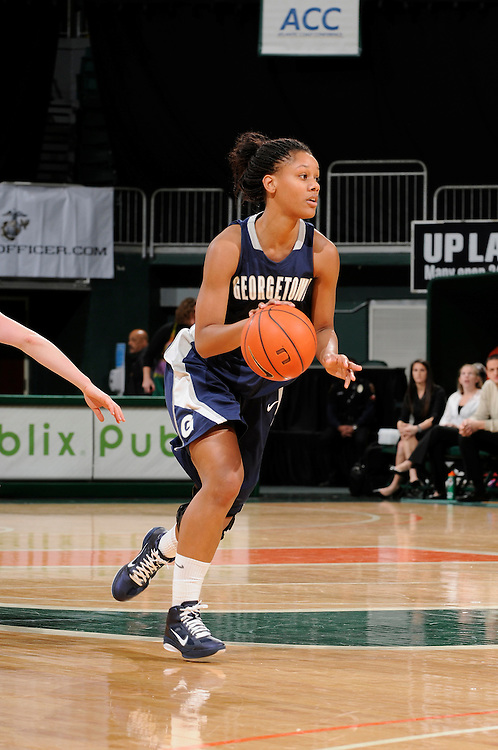 December 7, 2010: Tia Mcgee of the Georgetown Hoyas in action during the NCAA basketball game between Georgetown and the Miami Hurricanes. The 'Canes defeated the Hoyas 81-72.