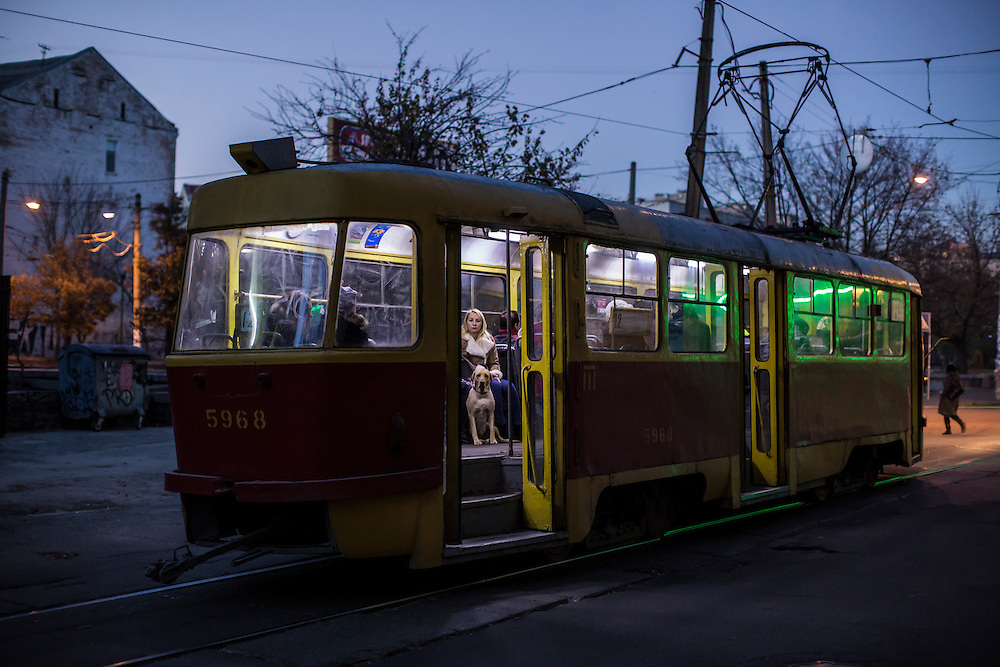 KIEV, UKRAINE - OCTOBER 26: A dog and other passengers on a tram on the day of nationwide parliamentary elections on October 26, 2014 in Kiev, Ukraine. Although a low turn out is expected in the east of the country, amid continued fighting between Ukrainian forces and pro-Russian seperatists, Ukraine is expected to elect a pro-western parliament in a further move away from Russian influence. (Photo by Brendan Hoffman/Getty Images) *** Local Caption ***