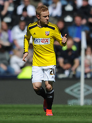 Brentford Alex Pritchard Celebrtes his gioal, Derby County v Brentford, Sy Bet Championship, IPro Stadium, Saturday 11th April 2015. Score 1-1,  (Bent 92) (Pritchard 28)<br /> Att 30,050