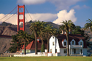 Old Coast Guard station and Golden Gate Bridge as seen from Crissy Field, The Presidio of San Francisco, California