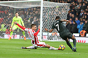 Kostas Stafylidis tackles Raheem Sterling in the box during the Premier League match between Stoke City and Manchester City at the Bet365 Stadium, Stoke-on-Trent, England on 12 March 2018. Picture by Graham Holt.