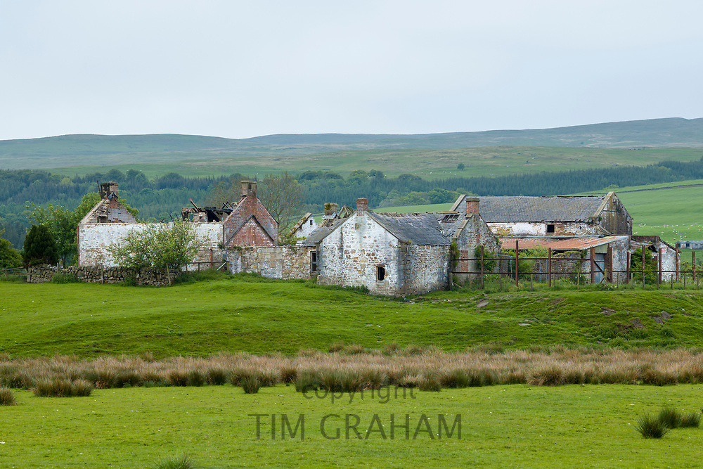 Ancient derelict barns, part of old deserted farm buildings at Sanquhar in Dumphries and Galloway, Scotland