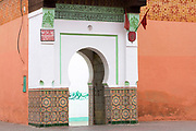 Zaouia / zawiya burial tomb shrine site of Sidi Abdullah al-Ghazwani, Marrakesh, Morocco, 2016–04-19.<br /><br />Sidi Abdullah al-Ghazwani, successor of Sidi Abdul Aziz, was a sufi known for his skills in building water channels and wells. He was one of the seven patron saints of Marrakesh and a Sufi mystic and Islamic Scholar.