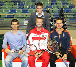 04.02.2012, Arena Nova, Wr. Neustadt, AUT, Davis Cup, Oesterreich vs Russland, Pressekonferenz, im Bild Andreas Haider-Maurer, AUT.Alexander Peya,  AUT.Oliver Marsch, AUT.Mag. (FH) Clemens Trimmel, ÖTV- Sportdirektor und Davis Cup- Kapitän  // Andreas Haider-Maurer, AUT.Alexander Peya,  AUT.Oliver Marsch, AUT.Mag. (FH) Clemens Trimmel, ÖTV- Sportdirektor und Davis Cup- Kapitän   during the press conference Davis Cup Austria vs Russia at the Match at the Arena Nova, Vienna Neustadt, Austria 2012/02/04 . EXPA Pictures © 2012, PhotoCredit: EXPA/ Stephan Woldron