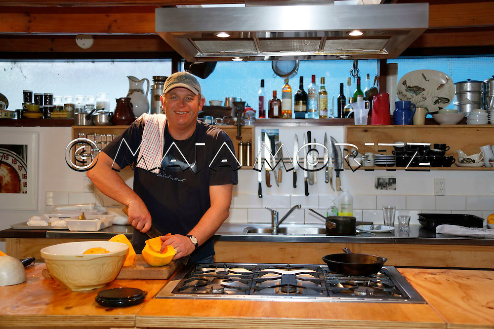 Celebrity cook Al Brown at home in Wellington, New Zealand, in his professional kitchen
