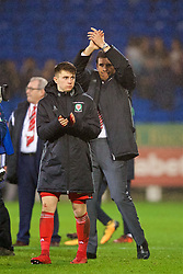 CARDIFF, WALES - Tuesday, November 14, 2017: Wales' manager Chris Coleman at the final whistle during the international friendly match between Wales and Panama at the Cardiff City Stadium. (Pic by David Rawcliffe/Propaganda)
