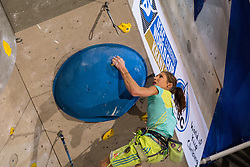 Mina Markovic (SLO) during women final competition of IFSC Climbing World Cup Kranj 2014, on November 16, 2014 in Arena Zlato Polje, Kranj, Slovenia. (Photo By Grega Valancicr / Sportida.com)