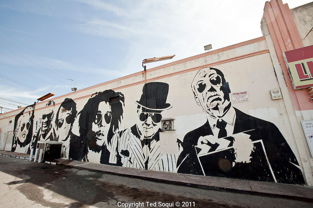 Street art in Los Angeles..L.A. has become the new ground zero for avant-guard and cutting edge street and graffiti. Artist from around the world now come to L.A. to post their work..A giant mural painted by Mr. Brainwash on Pico Ave in L.A.