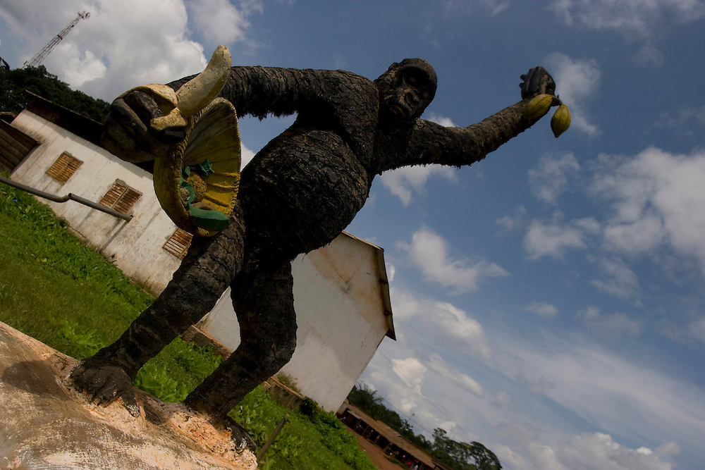 Sangemelia, Cameroon - June 7, 2008 - A trip around the west part of the Dja Reserve to see the Living Earth sustainability projects done by the local Cameroonians, the Kaka, Baka and Bantu. A giant gorilla statue welcomes you to Bengis...Photos by Will Nunnally / Will Nunnally Photography