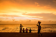 scenes at Galle Face Green at sunset, Colombo
