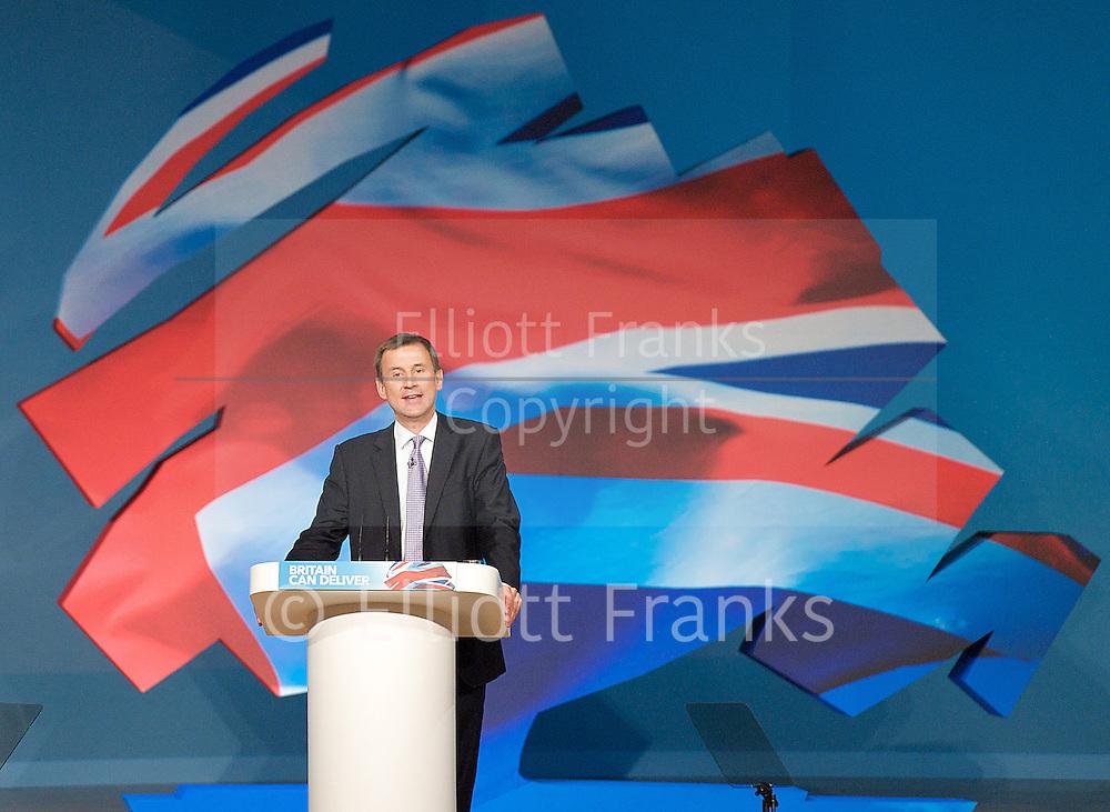 Conservative Party Conference, ICC, Birmingham, Great Britain <br /> Day 4<br /> 9th October 2012 <br /> <br /> <br /> <br /> Rt Hon Jeremy Hunt MP <br /> Health minister <br /> <br /> <br /> <br /> <br /> Photograph by Elliott Franks<br /> <br /> United Kingdom<br /> Tel 07802 537 220 <br /> elliott@elliottfranks.com<br /> <br /> ©2012 Elliott Franks<br /> Agency space rates apply