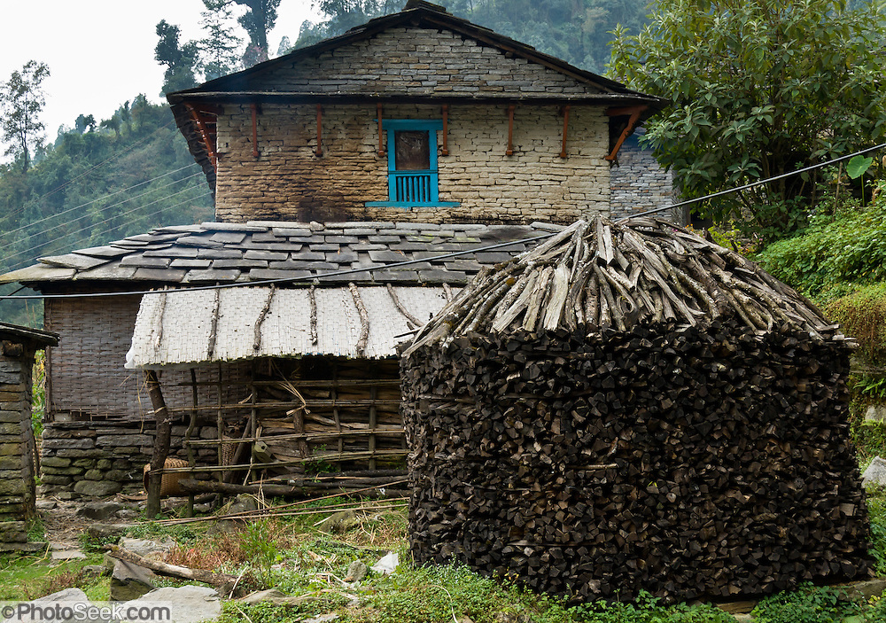 House with tall stack of firewood stacked in a cylinder, near Chomrong (or Chhomrung; 7250 feet elevation), Nepal.