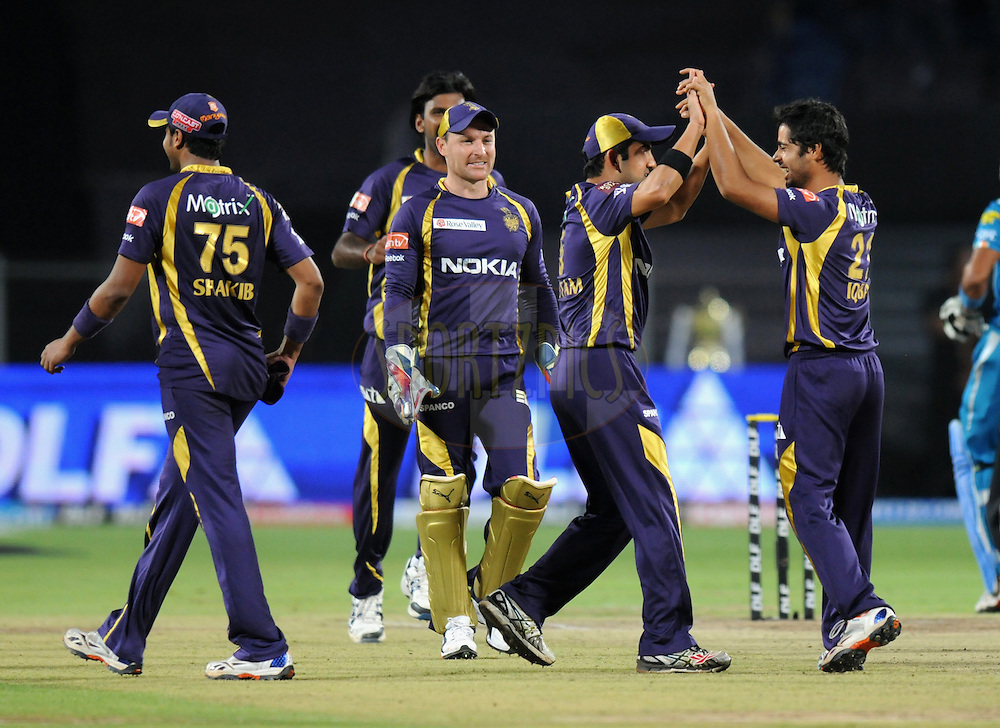Iqbal Abdulla of Kolkatta Knight Riders celebrates the wicket of Robin Uthappa of Pune Warriors India during match 70 of the Indian Premier League ( IPL) 2012  between The Pune Warriors India and the Kolkata Knight Riders held at the Subrata Roy Sahara Stadium, Pune on the 19th May 2012..Photo by Pal Pillai/IPL/SPORTZPICS