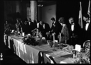 President Reagan Visits Ireland..(formal dinner)..1984.04.06.1984.06.04.1984.4th June 1984..The Banquet for President and Mrs Reagan was held in Dublin Castle,Dame St,Dublin. Mrs Joan Fitzgerald is assisted to her seat by her husband,The Taoiseach,Garret as President Reagan is on hand.
