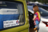 "06212016 - Noblesville, Indiana, USA: A bumper sticker reads, ""If I have to explain it, you wouldn't understand, on a VW bus in the parking lot of Klipsch Music Center (Deer Creek) before members of the Grateful Dead perform as Dead and Company. The Grateful Dead's final show at  Deer Creek in July 1995 was marred by over a thousand fans crashing the gates leading to the next day's show being canceled. Grateful Dead guitarist Jerry Garcia died a few weeks later. (Jeremy Hogan/Polaris)"