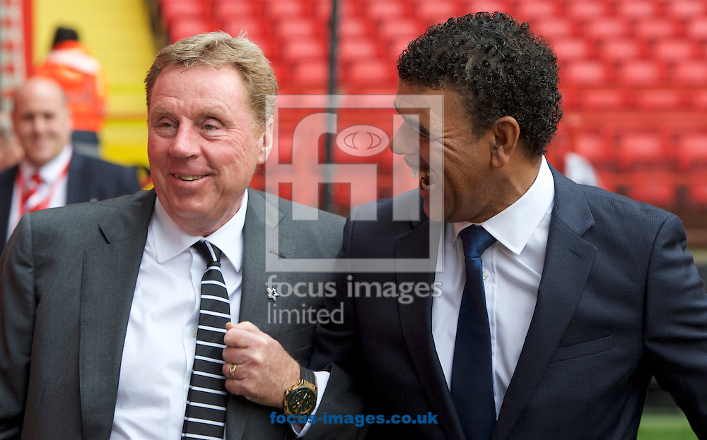 Harry Redknapp (left)  football advisor to Derby County with football pundit Chris Kamara before the Sky Bet Championship match at The Valley, London<br /> Picture by Alan Stanford/Focus Images Ltd +44 7915 056117<br /> 16/04/2016