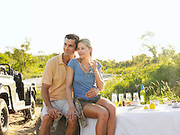 Couple at picnic sitting and embracing