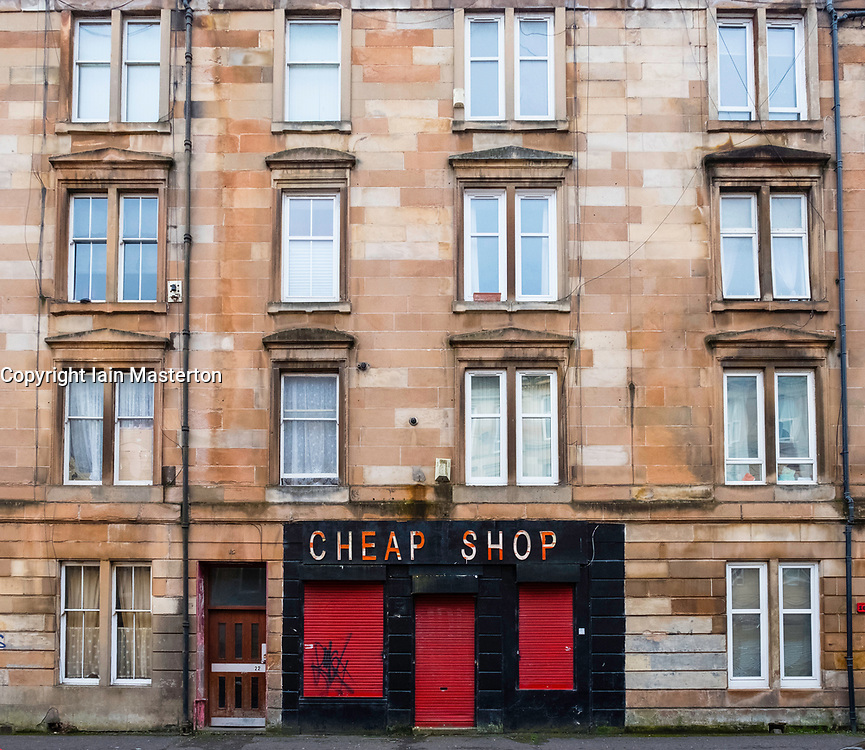 View of  tenement apartment block in Govanhill district of Glasgow, Scotland, United Kingdom