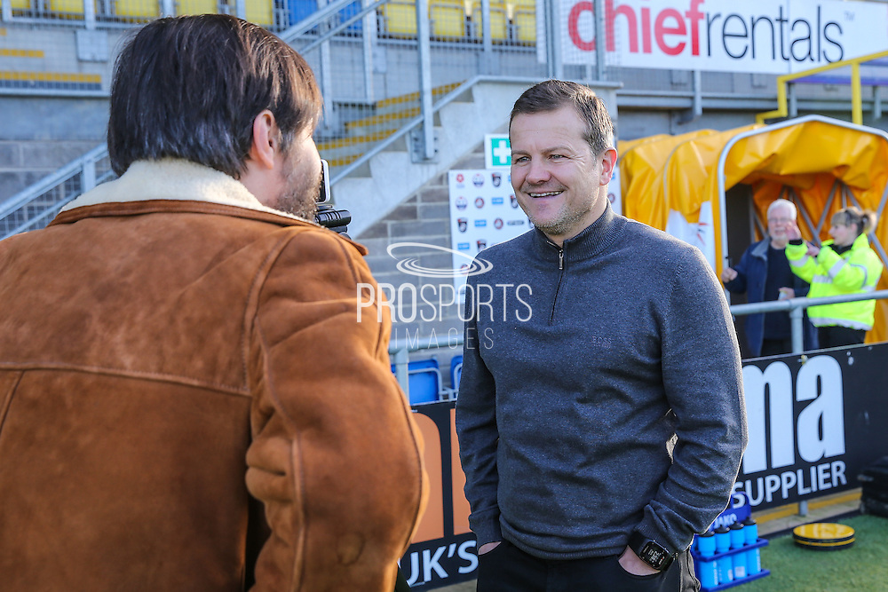 Forest Green Rovers manager, Mark Cooper pre-match interview during the Vanarama National League match between Torquay United and Forest Green Rovers at Plainmoor, Torquay, England on 26 December 2016. Photo by Shane Healey.