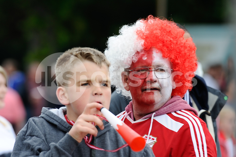 Swindon Town supporters before the Sky Bet League 1 Play-Off Final match between Preston North End and Swindon Town at Wembley Stadium, London, England on 24 May 2015. Photo by Salvio Calabrese.