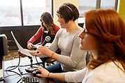 Staff Sgt. Ashleigh Buch, center, works with grad student clinicians Savanna Allen, left, and Samantha Kunz, right, as she attends speech therapy on Wednesday, January 25, 2017 at the University of Nebraska at Omaha in Nebraska. The new program serves people who are trans as part of the graduate student clinic for communication disorders. In the class Buch works on pitch, resonance and inflection.