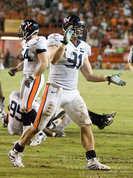 Virginia defensive end Chris Long (91)..The #19 Virginia Cavaliers defeated the Miami Hurricanes 48-0 at the Orange Bowl in Miami, Florida on November 10, 2007.  The game was the final game played in the Orange Bowl.
