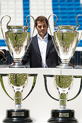 13.07.2015, Estadio Santiago Bernabeu, Madrid, ESP, Primera Division, Real Madrid, Pressekonferenz, Iker Casillas Tribute, im Bild Porto FC new goalkeeper, Iker Casillas, attends to old team tribute, Real Madrid and say goodbye to the fans // during Iker Casillas Tribute press conference of spanisch Primera Division Club Real Madrid CF at the Estadio Santiago Bernabeu in Madrid, Spain on 2015/07/13. EXPA Pictures © 2015, PhotoCredit: EXPA/ Alterphotos/ BorjaB.hojas<br /> <br /> *****ATTENTION - OUT of ESP, SUI*****