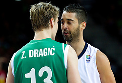 Zoran Dragic of Slovenia talks to Juan Carlos Navarro of Spain during basketball game between National basketball teams of Spain and Slovenia at Quarterfinals of FIBA Europe Eurobasket Lithuania 2011, on September 14, 2011, in Arena Zalgirio, Kaunas, Lithuania. Spain defeated Slovenia 86-64. (Photo by Vid Ponikvar / Sportida)