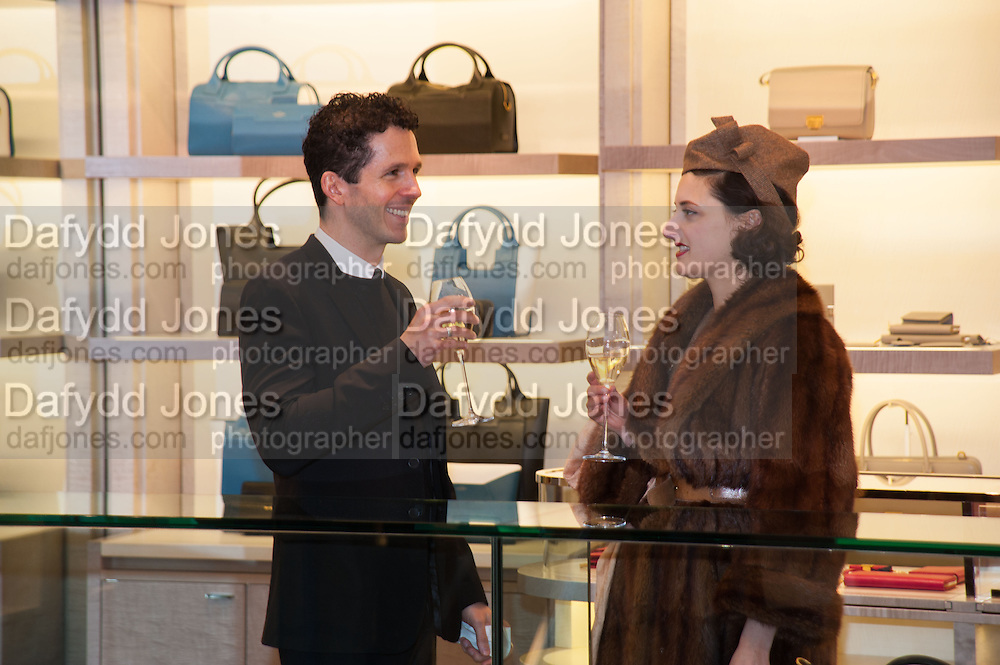 ANDREW ARMSTRONG; ADELLE MILDRED, Smythson Sloane St. Store opening. London. 6 February 2012.