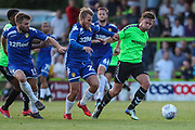 Leeds United's Samuel Saiz(21) and Forest Green Rovers Dayle Grubb(8) during the Pre-Season Friendly match between Forest Green Rovers and Leeds United at the New Lawn, Forest Green, United Kingdom on 17 July 2018. Picture by Shane Healey.