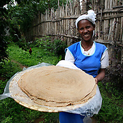 Injira, the Ethiopian staple pancake made from Tef served at every meal, at the Aragesh Lodge.