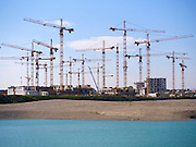 Vienna, Austria. Seestadt Aspern.<br /> Cranes at the construction site.