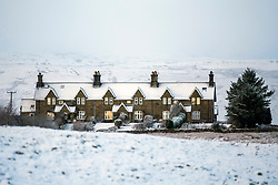 © Licensed to London News Pictures. 22/01/2019. Gearstones  UK. Snow covered houses in Gearstones after a night of snow fall in the Yorkshire Dales. Photo credit: Andrew McCaren/LNP