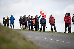 Spectators wait for the peloton on Stage 5 of 2019 OVO Women's Tour, a 140 km road race from Llandrindod Wells to Builth Wells, United Kingdom on June 14, 2019. Photo by Balint Hamvas/velofocus.com